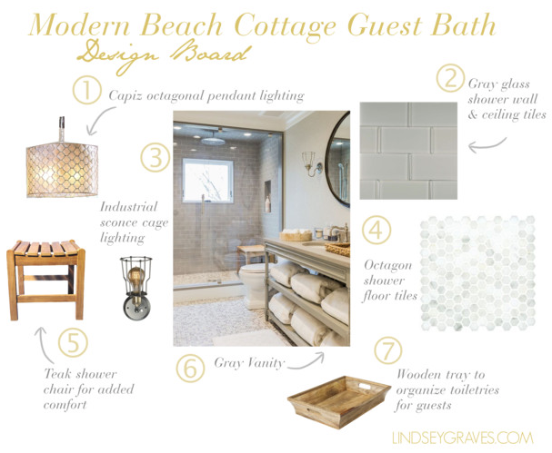 Mediterranean Coastal Guest Bathroom: Design Board