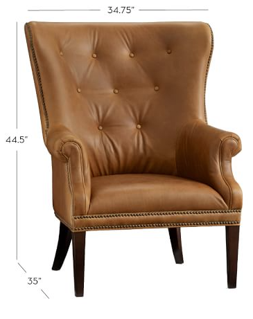 pottery barn hatton tufted wingback chair